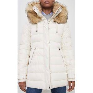 NEW Zara Fur Hooded Winter Puffer Snow Coat Cream
